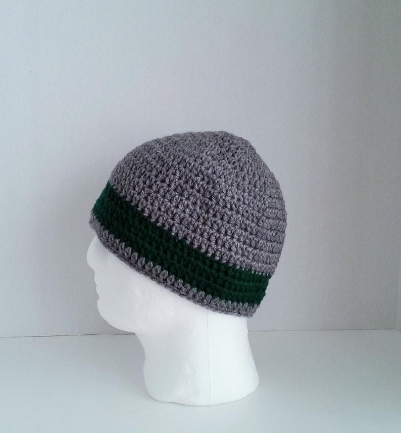 Mens Crochet Beanie Mens Crochet Hat Two Toned Gray And Etsy