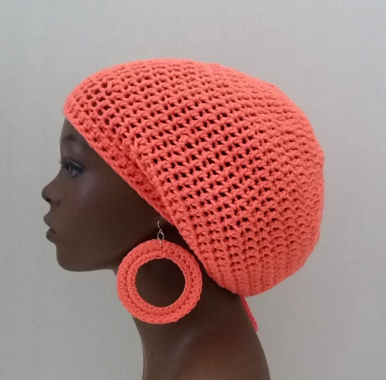 4150f7860f0 Cotton Crochet Rasta Tam and Earrings Set Peach Crochet