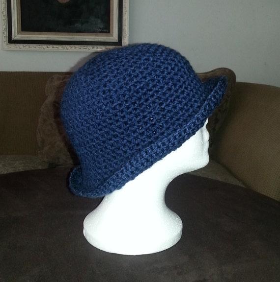 Cloche Hut häkeln gehäkelte Mütze Marineblau gehäkelter Hut | Etsy