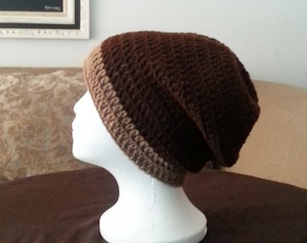 Mens Crochet Slouch Beanie,  Mens Two Tone Crochet Slouch Hat, Brown and Beige Slouch Beanie, Handmade Crochet Winter Hat, Mens Crochet Hat