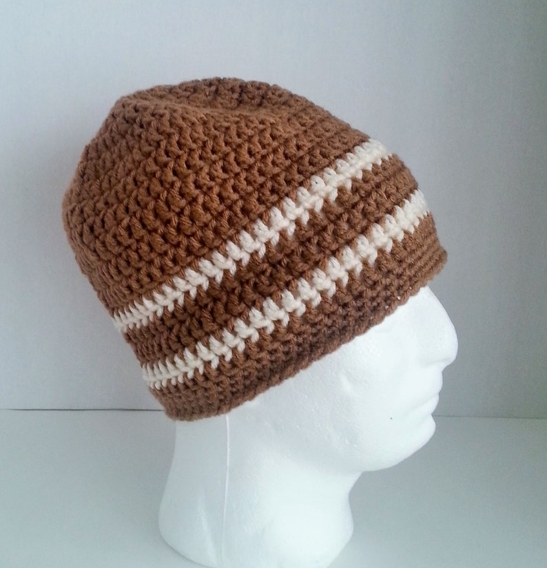 Mens Crochet Slouch Beanie Mens Crochet Beanie Mens Crochet Winter Hat Men/'s Crochet Hat Two-Toned Camel Brown and Off White