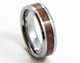Elegant Koa Wood, Thin Men's Wedding Band, 6MM, Men's Ring, Tungsten Carbide Ring, Wood Inlay, Sizes 5-13