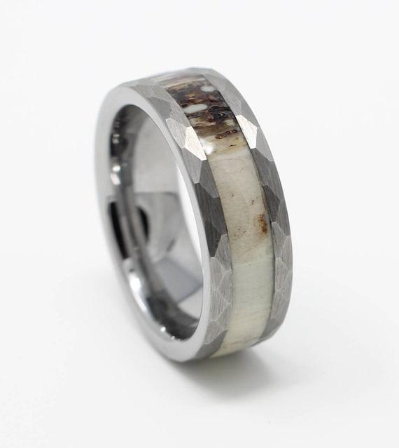 Tungsten Deer Antler Wedding Band 8mm Hammered Design Mens Etsy