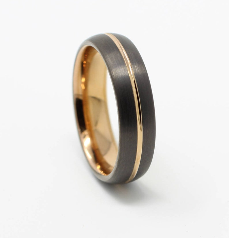 Gunmetal Rose Gold Tungsten Wedding Band Comfort Fit 6mm Etsy