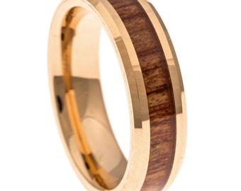 Men's Wedding Band, Rose Gold Hawaiian Koa Wood Inlay 6MM. Tungsten Carbide Men's Ring, Sizes 6-14