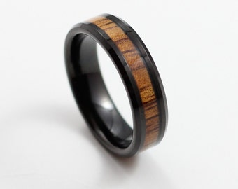 Thin Black Tungsten Ring with Koa Wood Inlay, 6mm Wedding Band, Comfort Fit, Tungsten Carbide Men's Ring