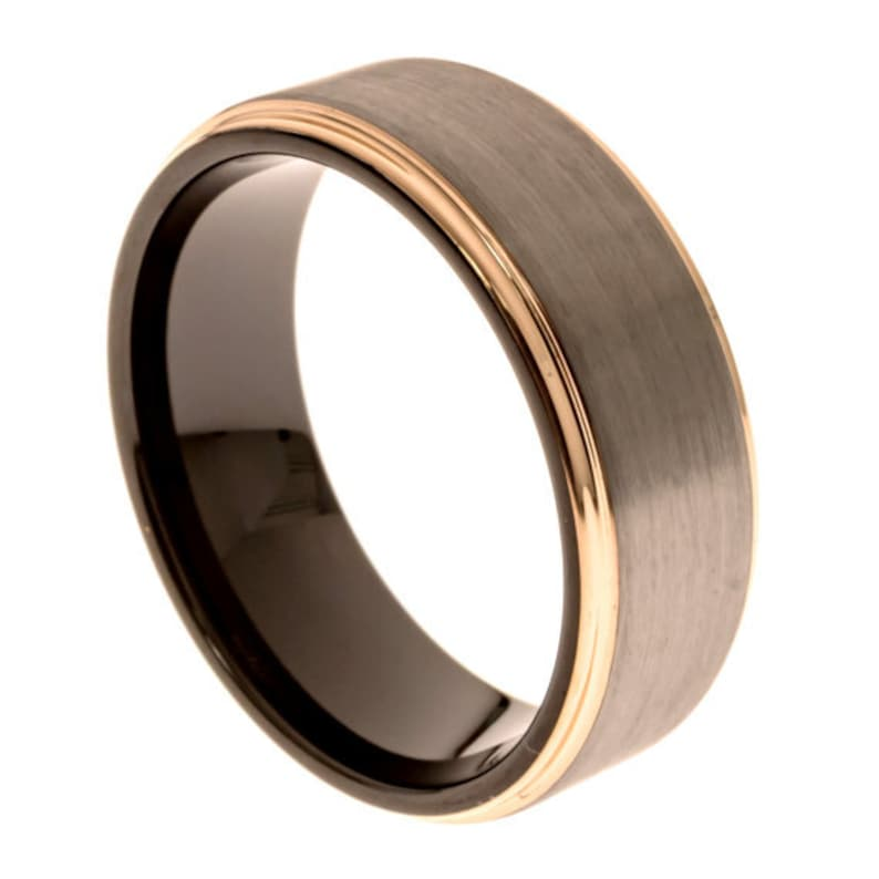Mens Wedding Bands Tungsten.Rose Gold And Silver Men S Wedding Band Tungsten Carbide 8mm Black Comfort Fit Band Free Engraving Sizes 7 13