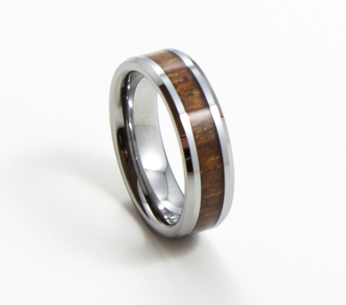 Elegant Koa Wood Thin Men's Wedding Band 6mm Ring Tungsten Carbide Inlay Sizes 713: Koa Inlay Wedding Ring At Websimilar.org