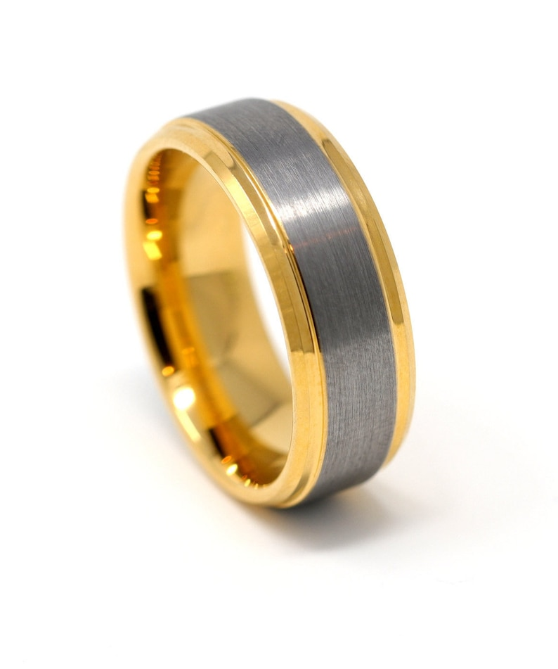 3d895ed6d0f Gold and Silver Tungsten Mens Wedding Band Brushed Inlay