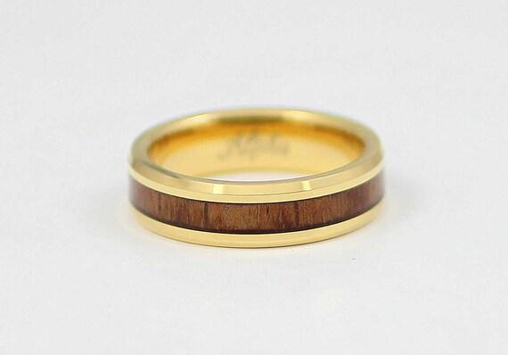 Yellow Gold Tungsten Koa Wood Men S Wedding Band 6mm Etsy