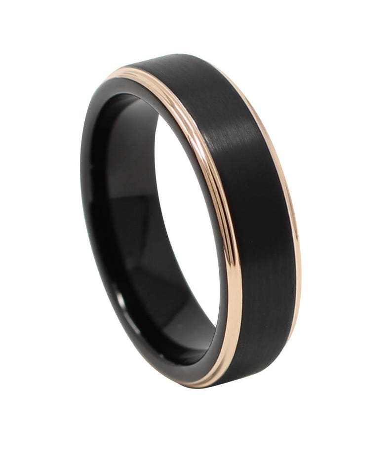 8eda387425126 Rose Gold and Black 6MM Men's Wedding Band, Thin Tungsten Carbide Ring,  Anniversary Gift, Comfort Fit, Sizes 6-13
