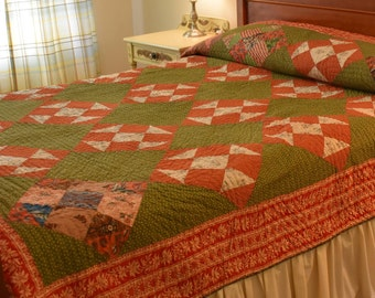 Early Shoo Fly Quilt with Dramatic Red Striped Border; Number ONE of two almost identical Quilts!