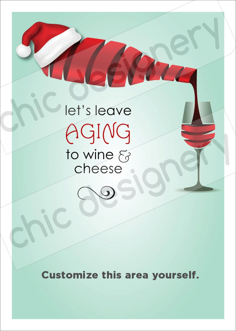 794f3b7491258 Leave Aging to Wine   Cheese Santa Hat Holiday Theme Graphic
