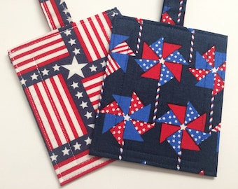 Handmade USA American Flag Independence Day Red White and Blue Patriotic Pinwheel Luggage/Stroller/ID/Backpack Tag
