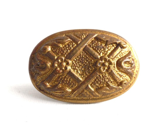 image 0 - 1 ONE Antique Brass Drawer Knob Cabinet Pull Floral Etsy