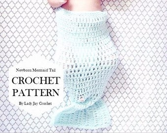 PATTERN: Newborn Mermaid tail | crochet mermaid tail pattern | diy mermaid tail | easy crochet pattern | newborn photography prop