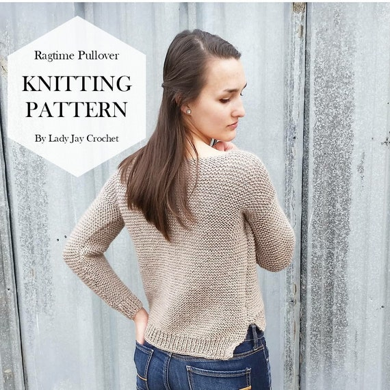 Pattern The Ragtime Pullover Easy Oversized Knit Sweater Etsy