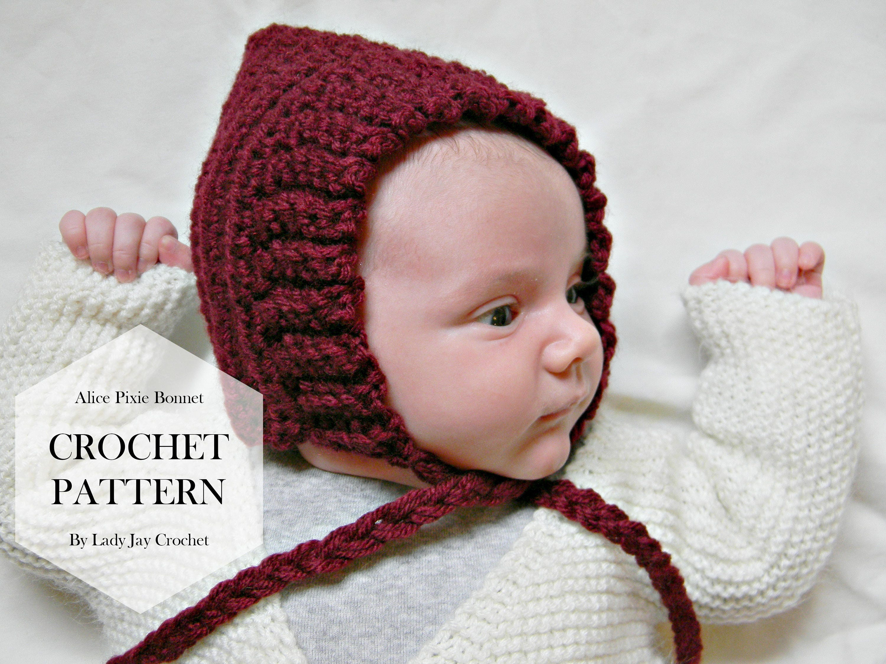 PATTERN: Alice Pixie Bonnet | baby infant toddler hat | crochet pom ...