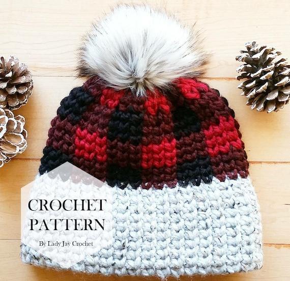 PATTERN  Crochet True North Toque Double Brim Plaid Beanie  316b390b12c