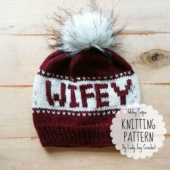 Pattern Wifey Toque Knit Hat With Words Bride To Be Etsy