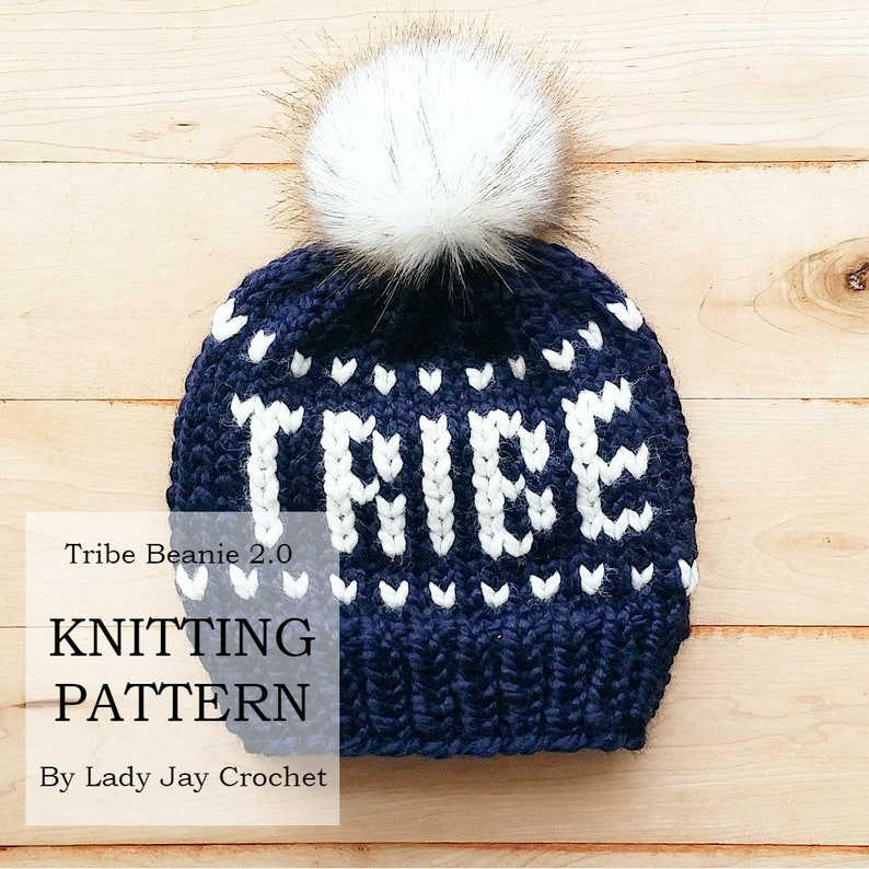 28775c0248c PATTERN  Tribe Beanie 2.0 Knit hat with words DIY knit