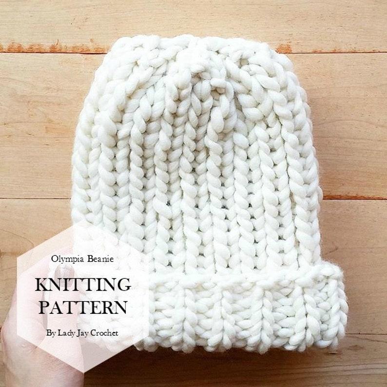 28ec0561327e PATTERN: Olympia Beanie | Classic Ribbed Toque | Fold over Brim Knit hat |  DIY Olympic Chloe Kim Inspired Beanie Pattern