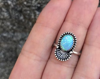 Australian Opal Stamped Stacker Ring