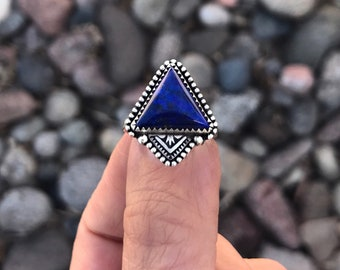 Lapis Stamped Stacker Ring