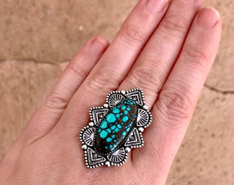 Lander Blue Turquoise Stamped Statement Ring
