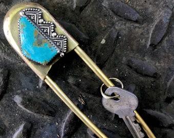 Kingman Turquoise Keychain
