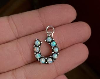 Lucky Opal Horseshoe Charm