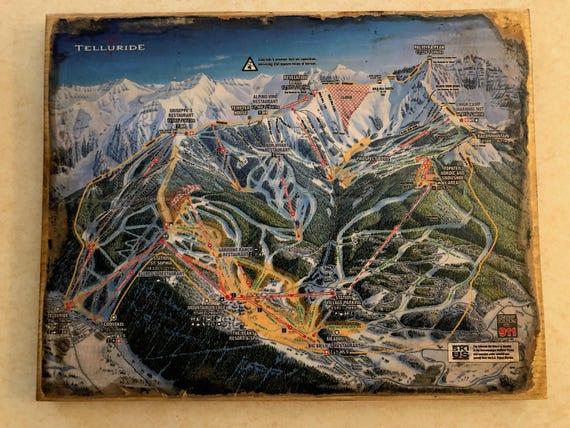 Antiqued Telluride Ski Trail Map