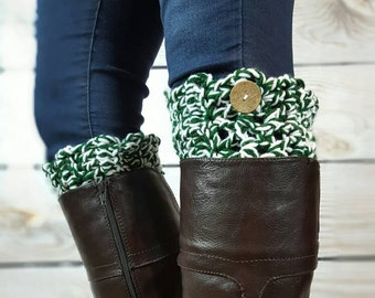 Michigan State Boot Cuffs - Crochet Boot Toppers - Team Boot Cuffs - Spartan Boot Cuffs - Fast Shipping - Michigan Bootcuffs