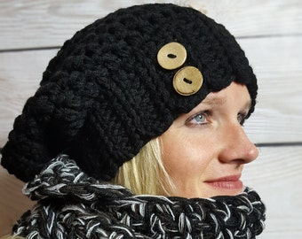 36 colors Available - Crochet Slouchy Hat - Slouchy Beanie - Women's Slouchy Hat - Women's Winter Hat -