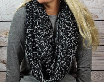 Black and Gray Infinity Scarf, Crochet Cowl Scarf, Circle Scarf, Loop Scarf, Black and Gray Infinity Scarf - Can be worn 2 different ways!