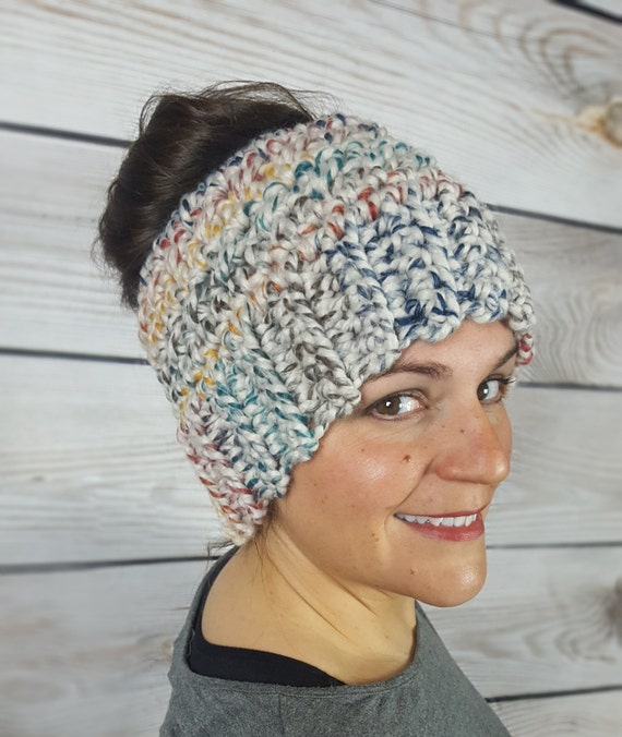 20725f027ea Colorful Messy Bun Hat Messy Bun Beanie Ponytail Hat Bun