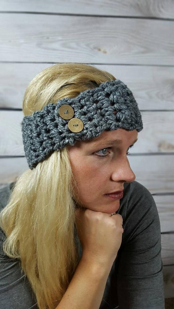 Crochet Black Turquoise and White Women/'s Winter Textured Ear Warmer Headwarmer Headband Handmade Boutique Fashion Clothing Apparel