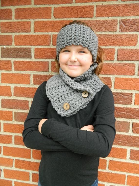 Graue Mädchen Schal Mädchen häkeln Schal und Stirnband   Etsy