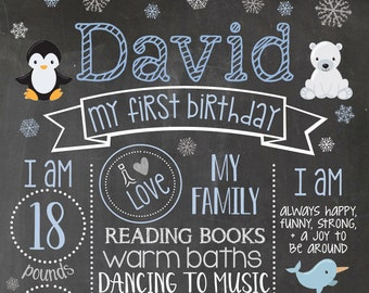 Winter Birthday Sign Decorations Digital File A13 Penguin First Birthday Board Milestone Poster Chalkboard