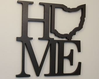 Ohio Home Sign | Wood Carved Ohio Home State Outline | Ohio | Wood Sign | Home Décor | Wall Sign |