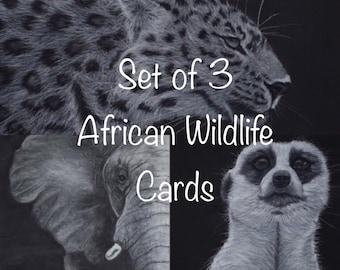 Set of 3 African Wildlife Portrait Cards