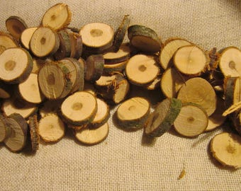 Unfinished Wood Slices, 50 pcs Wood slices with no holes, mini slices, rustic wedding decor, raw material, wood round mini