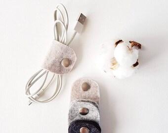Felt Earphone Cable Holder Tie Organiser Brown Black Grey felt Earbud ties, small fun present, ANISEnl