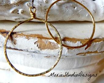 Hammered Brass Hoop Earrings, 14K Gold Hoops, Minimalist Hoop Earrings, 1.25 inch hoops, NonTarnish Hoop Earrings, Artisan Hoop Earrings