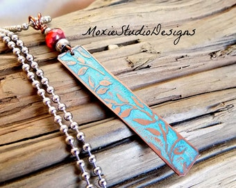Silver and Turquoise Bar Necklace, Long boho Necklace, Boho Jewelry, Mixed Metal Necklace, Necklaces for Women, Artisan Necklace