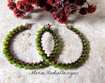 1.5 Inch Natural Jade Hoop Earrings, Gemstone Hoops,Boho hoop Earrings, Beaded Hoop Earrings, Artisan Hoops, Gemstone Earrings, Boho Jewelry