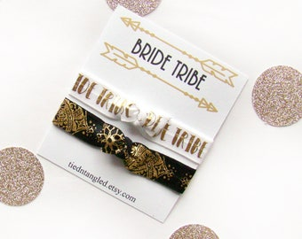 Bride Tribe Hair Ties, Bachelorette Party Favors, Bridal Party Gifts, Team Bride Hair Ties, Tribal Bridesmaid Gift, For the Bride, FOE