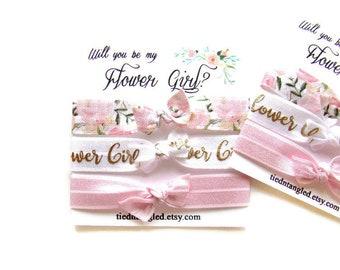 4 Pink /& White Floral Hair Ties Pink Rose Hair Tie Set Bridesmaid Hair Tie Set Shower Floral Hair Tie Favor Floral Rose Hair Tie Favor