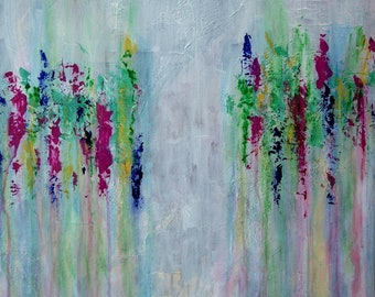 Large Abstract Acrylic Blue Green Magenta Yellow Painting Textured Modern Art Contemporary Art