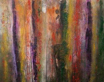 Large Abstract Acrylic Red Yellow Green Purple Painting Textured Modern Art Contemporary Art